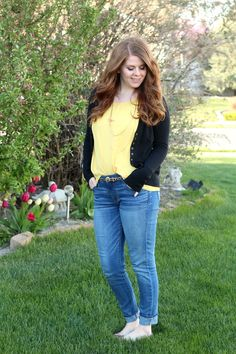 nightchayde: Spring to Summer. Yellow top, skinny jeans, animal print belt, black sweater outfit idea.