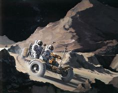 <p><strong>Lunar Rover, Concept</strong><br /> A Teledyne-Ryan Artist's Concept illustrating Astronauts David R. Scott and James B. Irwin riding in the Lunar Roving Vehicle on the rugged Lunar terrain of the Moon's Hadley-Apennine area.</p>