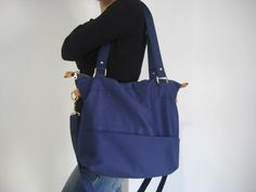 Tote+cotton+canvas+shoulder++bag+in+navy+blue+/laptop+by+Laroll,+€55.00