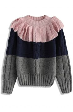 Playful Art Cable Knit Sweater in Pink - Tops - Retro, Indie and Unique Fashion