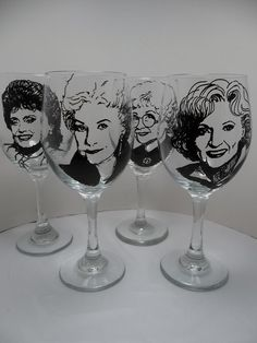 Items similar to Golden Girls, Hand painted glasses, Painted wine glasses on Etsy Golden Girls, Golden Rule, El Canton, La Girl, Hand Painted Wine Glasses, Girls Hand, Crafts For Girls, Craft Sale, Love