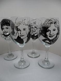 Golden Girls, Wine Glasses, Hand painted wine glasses. $76.00, via Etsy.