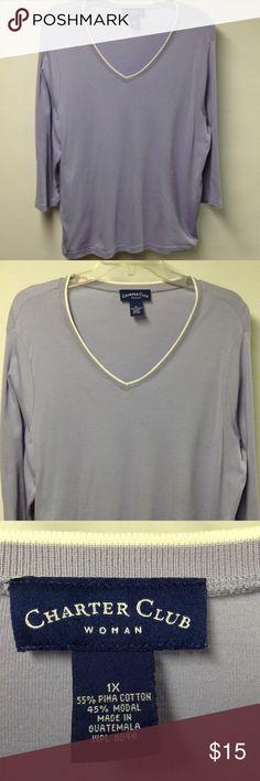 Charter Club Shirt Light Purple Charter Club Tops Tees - Long Sleeve