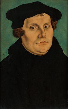 Lucas Cranach the Elder (German, 1472-1553). Portrait of Martin Luther, 1529. Diptych. Mixed media on red beechwood. 37.5 x 23.5 cm (14 3/4 x 9 1/4 in.).  © Hessisches Landesmuseum Darmstadt