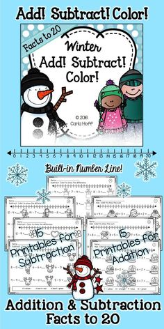 30 Printables for Addition and Subtraction Facts to 20 - Each page provides practice with a particular strategy, with built in review and a number line for children who need this support.  Add or subtract, then color the super cute seasonal images (winter, Christmas, Valentine's Day) that correspond with the sum or difference.  Fun, purposeful practice! #additionworksheets #firstgrademath #additionpractice #subtractionpractice