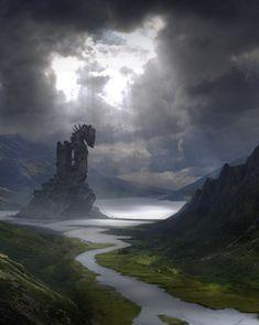 fantasy-art-engine: Viking Tower by Alessandro Taini – Art Ideas My Fantasy World, Fantasy Places, High Fantasy, Fantasy Rpg, Medieval Fantasy, Fantasy Concept Art, Fantasy Artwork, Dcc Rpg, Vikings