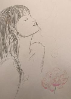 #woman #peonies #drawing #draw #pencil #doodles #eyesclosed