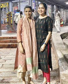 Samantha Akkineni takes a spiritual journey to Tirumala with her friend Ramya Subramaniam Salwar Designs, Kurti Neck Designs, Kurta Designs Women, Kurti Designs Party Wear, Saree Blouse Designs, Kalamkari Dresses, Simple Kurta Designs, Cotton Long Dress, Dress Neck Designs