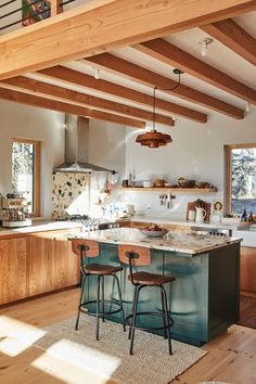 Sidney Bensimon is living a in her dream home in Maine. She never imagined a space like this could be a reality. Diy Kitchen, Kitchen Interior, Kitchen Decor, Space Kitchen, Island Kitchen, Small Kitchen With Island, Very Small Kitchen Design, Kitchen Cabinets, Kitchen Rustic
