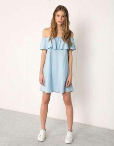 Off Shoulder Denim Dress - Lotus Leaf Ruffle / Light Blue Day Dresses, Cute Dresses, Casual Dresses, Short Dresses, Casual Outfits, Fashion Dresses, Summer Dresses, White Off Shoulder Dress, Womens Denim Dress
