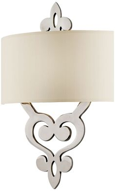 """Olivia Collection 2-Light 18"""" Polished Nickel Wall Sconce with Linen Drum Shade 102-12,"""