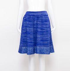 Blue Knit Metallic Skirt
