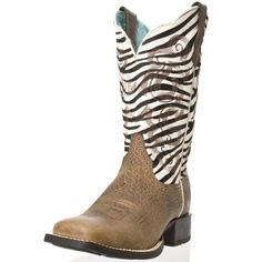 Brown Ariat cowgirl boots with zebra print. Oh how I wish these were mine