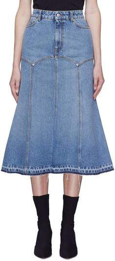03682ade97f3f Panelled fluted midi denim skirt