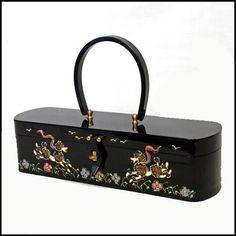 RARE RARE vintage Wilardy black Lucite poodle box handbag