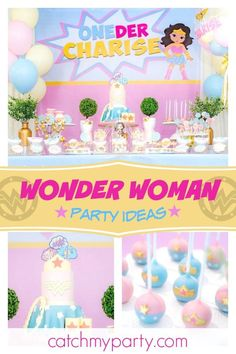 6947f6a20 Don't miss this incredible Wonder Woman birthday party! The birthday cake  is fantastic