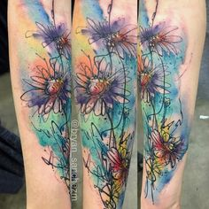 Watercolor Daisy Tattoo by Bryan Sanchez from Into the Woods, Miami, Fl – floral tattoo sleeve Leg Tattoos, Body Art Tattoos, Arm Tattoo, Sleeve Tattoos, Water Color Tattoos, Blue Ink Tattoos, Tiny Tattoo, Watercolor Daisy Tattoo, Watercolor Mandala