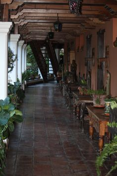 Hotel Atitlan. The décor is in the Spanish-colonial hacienda style favored by the Guatemalan plantation owners of the 18th century. A fantasy of ornate gardens, exotic birds, hand-carved furniture, and gorgeous ceramic tiles makes Hotel Atitlan a unique place indeed.
