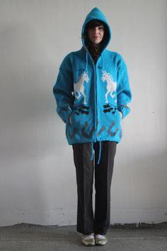Vintage Horse Jacket  Soft Teal  90s Native Tribal by VeraVague, $65.00