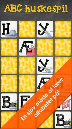 Abc huskespil er to gratis vendespil, hvor man øver de store og de små bogstaver. man kan også købe for 7 kr et hvor man skal match f.eks A med a.