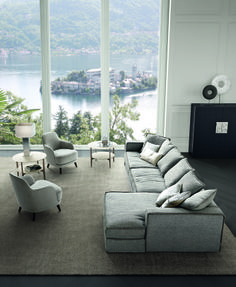 Casamilano_Pillopipe / design Paola Navone: Sofas with solid fir-wooden frame, upholstered in different densities of polyurethane. Back cushions in goose feather. Seat cushions: fully-reversible covers made in canalized goose feathers, with a central insert in high-density polyurethane foam / different densities of polyurethane foam.