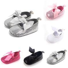 3.79 - Babyborn Girl Boy Sequins Glitter Crib Shoes Soft Sole Slip-On  Prewalker   c41396d1def5
