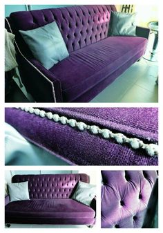 This royal purple couch is fit for a king or queen!