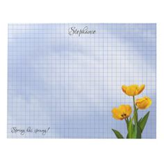 Spring has Sprung Tulips Floral Photography Grid Notepad - monogram gifts unique design style monogrammed diy cyo customize