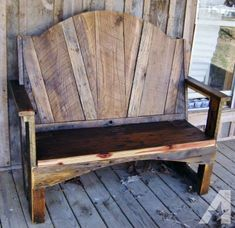 (E) Outdoor bench - Rustic Barn Wood Bench / or.a headboard. Wood Pallet Beds, Pallet Furniture, Furniture Plans, Rustic Furniture, Wood Pallets, Outdoor Furniture, Furniture Stores, Modern Furniture, Western Furniture