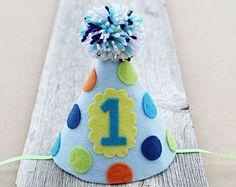 Boys 1st Birthday Party Hat Boys Felt Polkadot by LaLaLolaShop 1st Birthday Banners, Birthday Party Hats, Birthday Numbers, 1st Boy Birthday, Hat Cake, Cake Smash, Special Day, First Birthdays, Birthday Hats