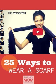 These 25 Ways of How to Tie a Scarf Will Change Your Mom Uniform Forever 25 ways to wear a scarf tutorial from Wendy's Look Book. I love all these ways to tie a scarf! They totally jazzed up my mom uniform. Ways To Tie Scarves, Ways To Wear A Scarf, How To Wear Scarves, Short Scarves, Scarf Knots, Diy Scarf, Tying A Scarf, Square Scarf Tying, Scarfs Tying