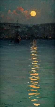Fausto Zonaro ( 1854 – Was an italian painter, best known for his Realist style paintings of life and history of the Ottoman Empire. Nocturne, Moon Art, Fine Art, Aesthetic Art, Aesthetic Wallpapers, Landscape Paintings, Impressionist Paintings, Monet Paintings, Van Gogh Paintings