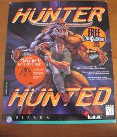 1996 Hunter Hunted PC Game by Sierra COMPLETE in Big Retail Box #Sierra