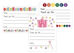 Printable kids thank you cards!  Then they can write in the rest!