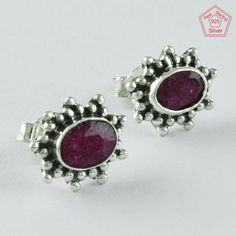 RUBY STONE STUNNING 925 STERLING SILVER EARRINGS STUDS JEWELRY ST5671 #SilvexImagesIndiaPvtLtd #Stud