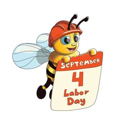 Buy Illustration of a Bee with Labor Day Poster by illumylov on GraphicRiver. Vector Illustration of a Cute Smiling Bee character with Labor Day Poster Graphic Design Art, Book Design, American Flag Clip Art, Labor Day Clip Art, Fall Clip Art, Labour Day, Clipart Images, New Art, Poster