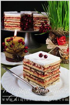 Posna kapri torta | Minjina Kuhinjica Pastry Recipes, Baking Recipes, Cake Recipes, Dessert Recipes, Eggless Desserts, Vegan Desserts, Posne Torte, Yummy Treats, Yummy Food