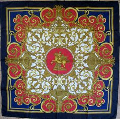 "Hermes 35"" silk scarf ""Les Tuilleries"" by Joachim Metz 1st issued in 1990/1991, this the reissue 1996/1997"
