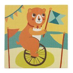 Land of Nod - Unicycling bear kids wall art!