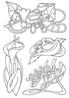 Art Nouveau Designs | Art Nouveau Flowers by Elaine Hamer Design Source Book 33 Search Press