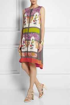 VINEET BAHL Embroidered printed crepe de chine and satin dress