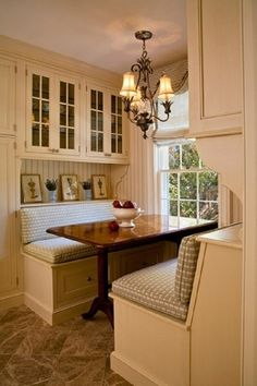 kitchen. bench seat. light. cabinets