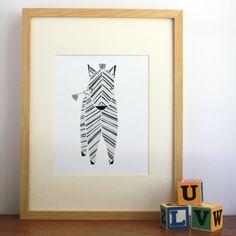 Zeek Zebra Illustration - Safari Collection, Nursery Art, Kids Wall Art. $20.00, via Etsy.