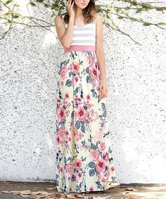Sweet floral and stripes come together for an extra chic look to lend fashion-forward appeal to your casual looks.