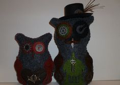 pair of owls romantic steampunk his and hers owl couple by DarkPicketFence, $27.00