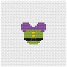 Disney Mouse Ears Dopey Cross Stitch Pattern .PDF - Instant Download Perler Bead Templates, Diy Perler Beads, Pearler Bead Patterns, Perler Bead Art, Perler Patterns, Tiny Cross Stitch, Beaded Cross Stitch, Cross Stitch Designs, Cross Stitch Patterns