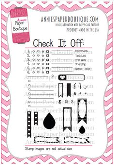 Check It Off! Planner Stamp Set by Annie's Paper Boutique - for Your Planner, Calendars, Filofax, Journal, Erin Condren - Clear Stamps