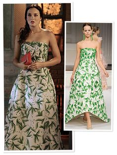 Blair Waldorf in a botanical-print ballgown by Oscar de la Renta.