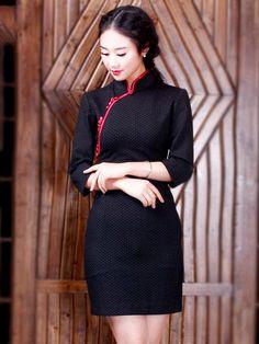 Black Dot Qipao / Cheongsam Dress for Winter