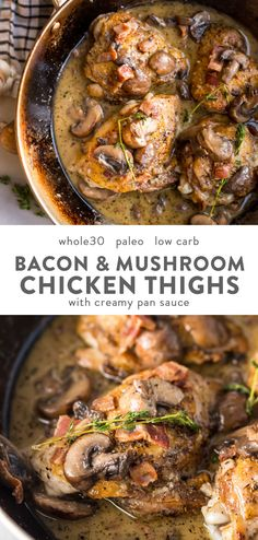 These creamy bacon mushroom chicken thighs are absolutely delicious. Crispy skin and tender inside, chicken thighs are coated in a creamy sauce with salty, crispy bacon, earthy mushrooms, and fresh thyme. These creamy bacon mushroom chicken Bacon Stuffed Mushrooms, Bacon Mushroom, Chicken Mushroom Recipes, Bacon Chicken Recipes, Creamy Mushroom Chicken, Recipe Chicken, Chicken Creamy Sauce, Mushroom Stuffed Chicken, Meals With Bacon